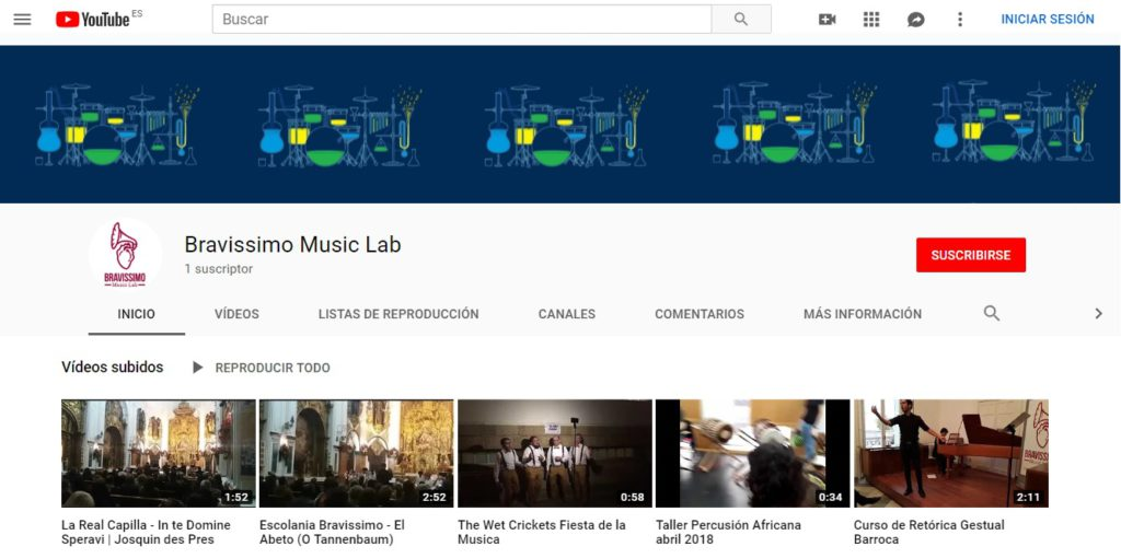 Pantallazo Youtube Bravissimo Music Lab